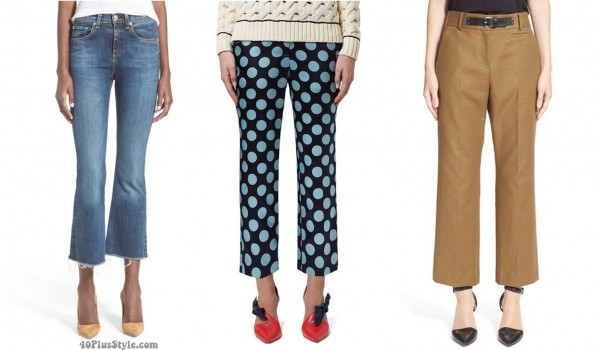 cropped flared pants jeans length | 40plusstyle.com