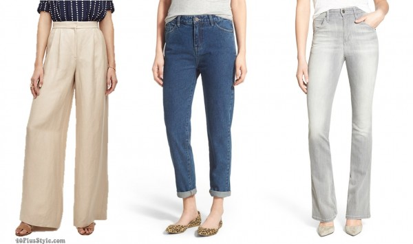 highwaist rise pants jeans length hem | 40plusstyle.com