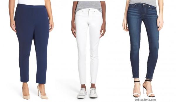 skinny pants jeans length hem | 40plusstyle.com