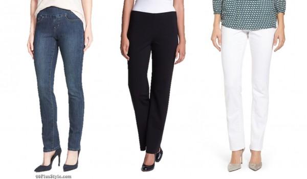 straight leg pants jeans hem length | 40plusstyle.com