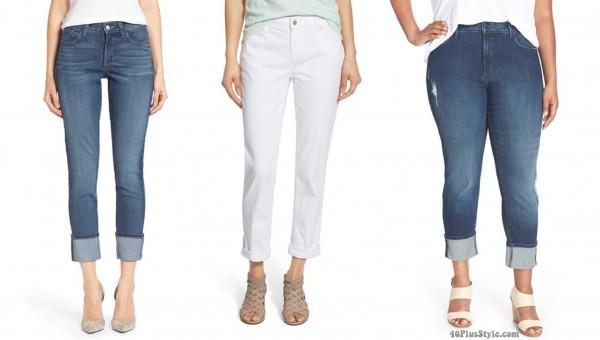 boyfriend style jeans cuff length | 40plusstyle.com
