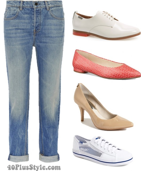 boyfriend jeans best shoes flats oxfords heels | 40plusstyle.com