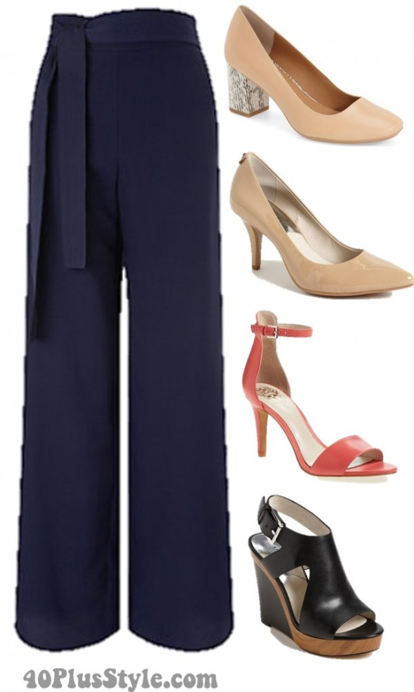 wide leg pants shoes pumps wedges | 40plusstyle.com