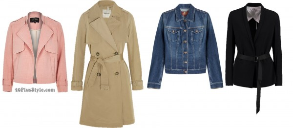 Spring jackets pear shape looks trench denim | 40plusstyle.com