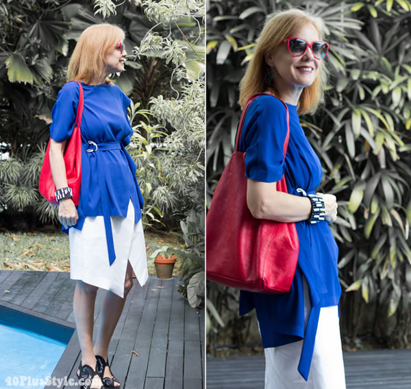 blue asymmetrical top and skirt | 40plusstyle.com