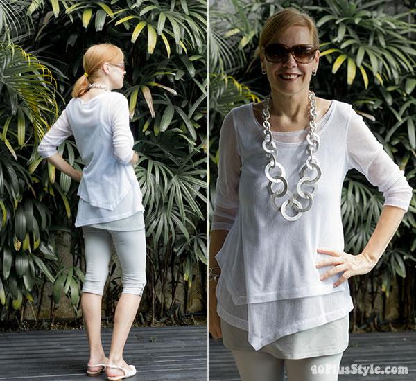 knee high leggings with asymmetrical top | 40plusstyle.com