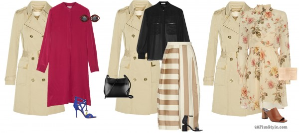 spring brunch outfits trench floral cropped pants   40plusstyle.com