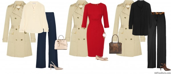 trench coat spring office looks wide leg | 40plusstyle.com