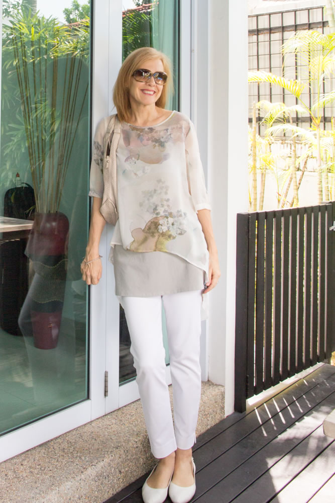 40 Style Casual Style Challenge Outfit 3 Layering With A Sheer Blouse