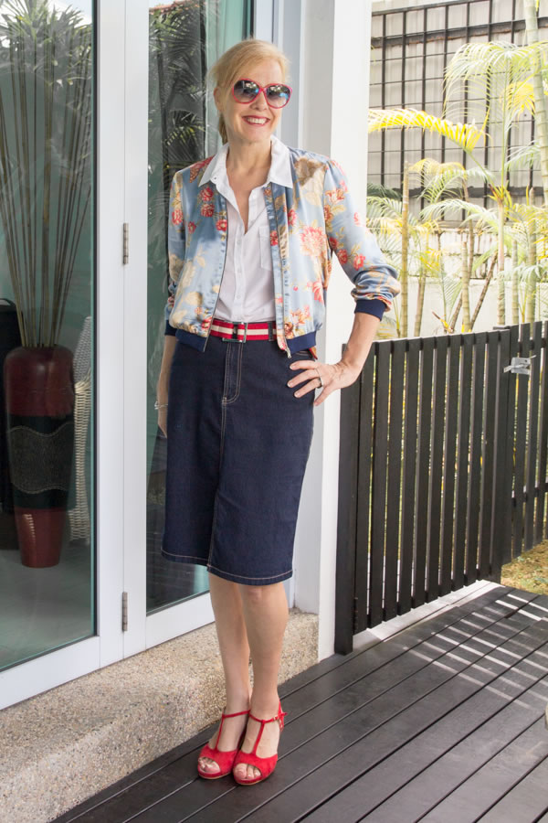 40+Style Casual Summer Style Challenge - look 4 - Combining a bomber jacket with a skirt | 40plusstyle.com
