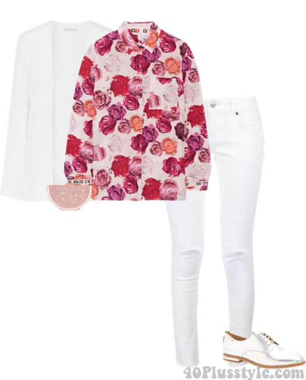 floral white blazer distressed jeans oxfords | 40plusstyle.com