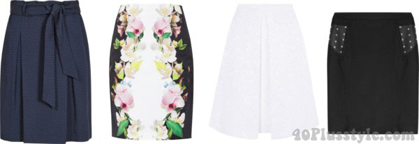 skirts for the rectangle body shape | 40plusstyle.com