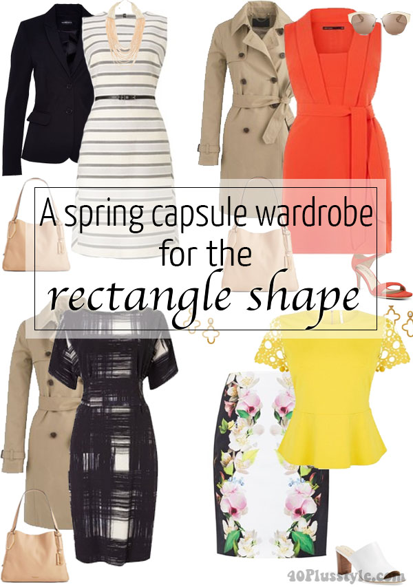spring trends rectangle body shape capsule | 40plusstyle.com
