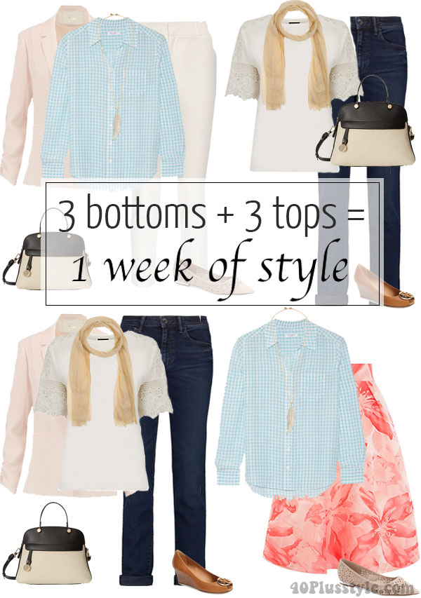 3 bottoms + 3 tops = 1 week of style | 40plusstyle.com