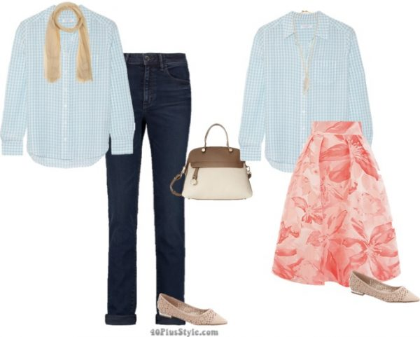 summer capsule floral skirt nude flats checked shirt | 40plusstyle.com