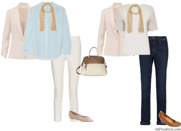 pastel blazer lace top white pants nude flats Tory Burch wedges | 40plusstyle.com
