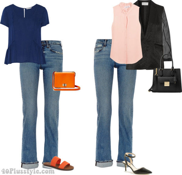 Blue jeans ideas for a summer day to night look | 40plusstyle.com