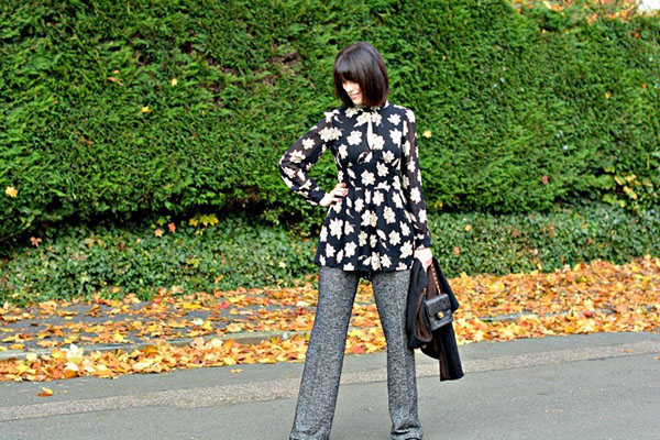 Edgy floral prints outfit   40plusstyle.com