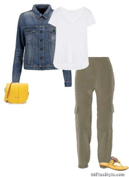 linen shirt denim jacket elastic waistband cargo pants flip flops | 40plusstyle.com