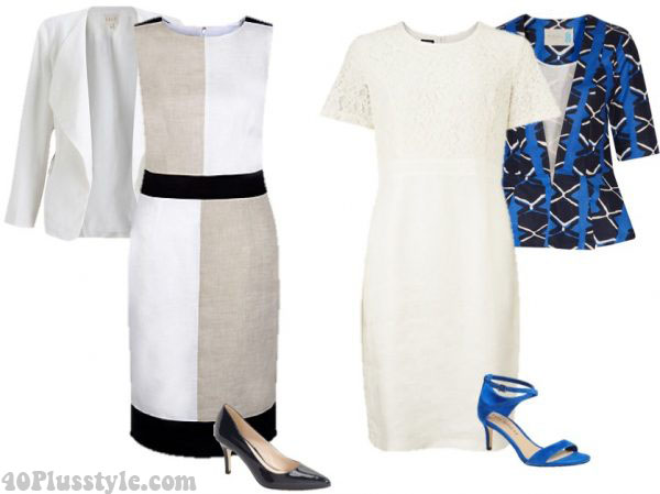 ethnic print jacket linen dress ankle strap heels   40plusstyle.com