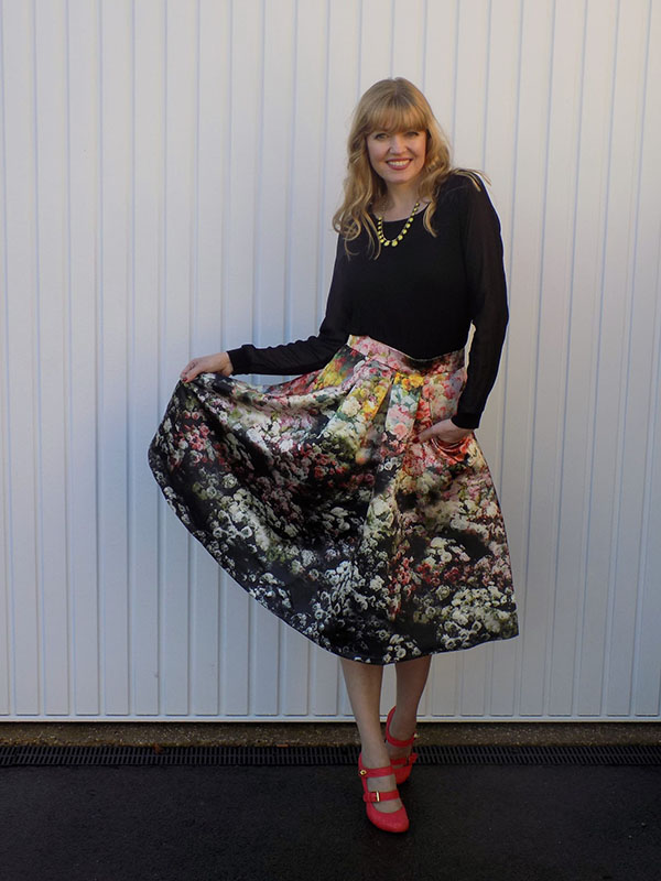 Jolie Moi floral skirt and black top | 40plusstyle.com