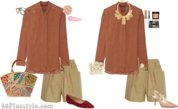 Khaki shorts outfit inspiration | 40plusstyle.com
