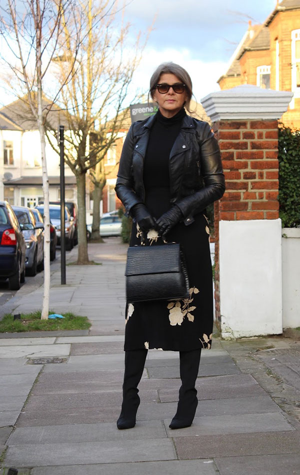 Leather jacket and skirt outfit idea   40plusstyle.com
