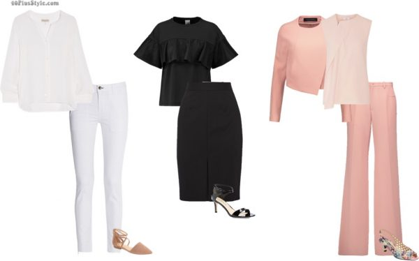 monochromatic white pants black skirt pink top slimmer | 40plusstyle.com
