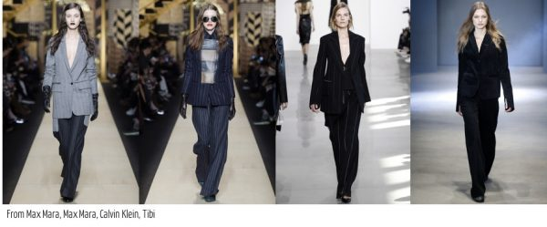 Trends for Fall 2016: Pinstripe patterned suits, blazers, and pants by Max Mara, Tibi, and Calvin Klein | 40plusstyle.com