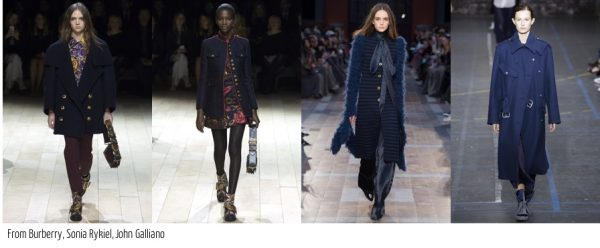 Fall fashion trends for 2016: Navy coats by Burberry and Galliano | 40plusstyle.com