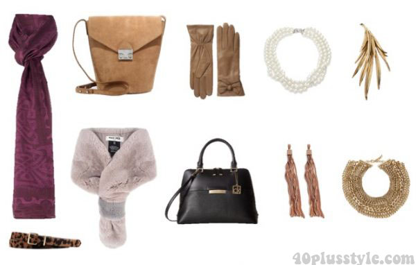 A capsule wardrobe for fall featuring tan shades: accessories, scarves, and bags| 40plusstyle.com