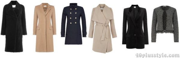 Fall capsule wardrobe: neutral and navy colored coats and blazers | 40plusstyle.com