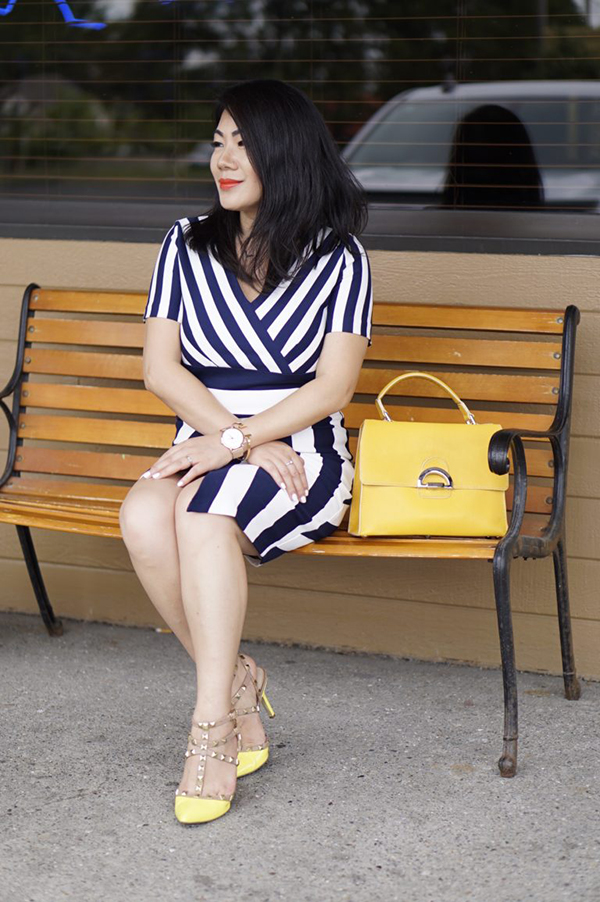 Nautical blue stripes and yellow heels | 40plusstyle.com