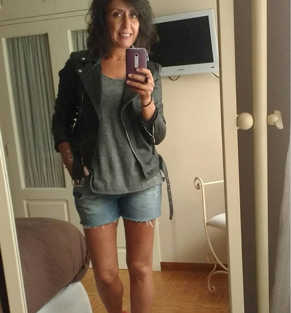#40plusstyle inspiration: leather jacket with denim shorts | 40plusstyle.com
