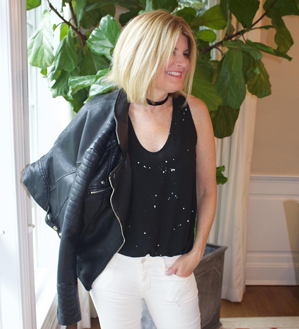#40plusstyle inspiration: styling a leather jacket with white pants for a chic outfit | 40plusstyle.com