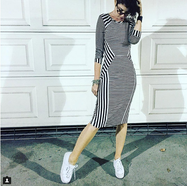 #40plusstyle inspiration: Black and white pin striped dress | 40plusstyle.com