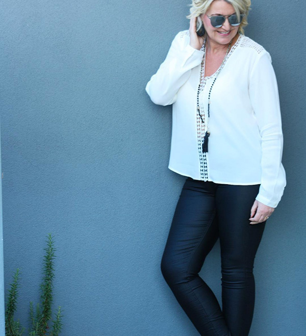 #40plusstyle inspiration: Bohemian inspired top with leather pants | 40plusstyle.com
