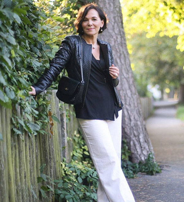 #40plusstyle inspiration: Chic leather jacket for Fall | 40plusstyle.com
