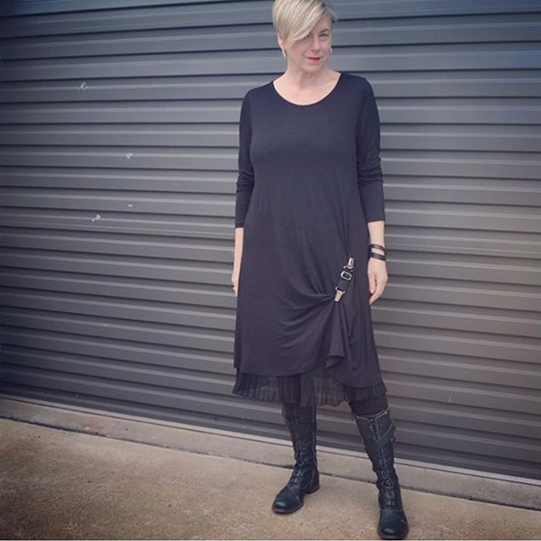 #40plusstyle inspiration: a chic black dress with high cut boots| 40plusstyle.com