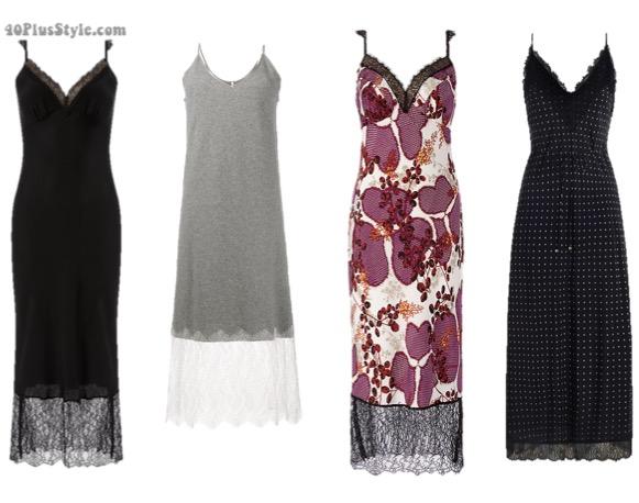 slip dresses with a lace hem | 40plusstyle.com