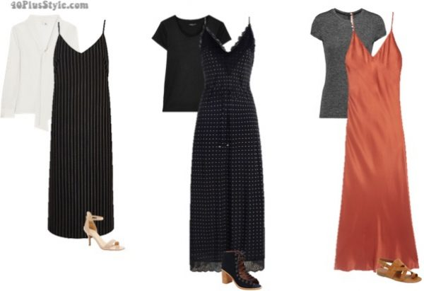 ways to wear slip dresses over 40 - with a shirt underneath | 40plusstyle.com