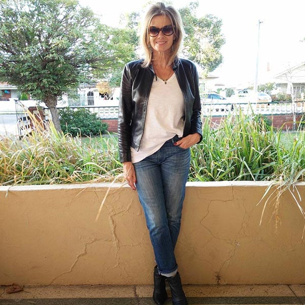 40plusstyle inspiration: Leather jacket with a pair of black leather boots   40pplusstyle.com
