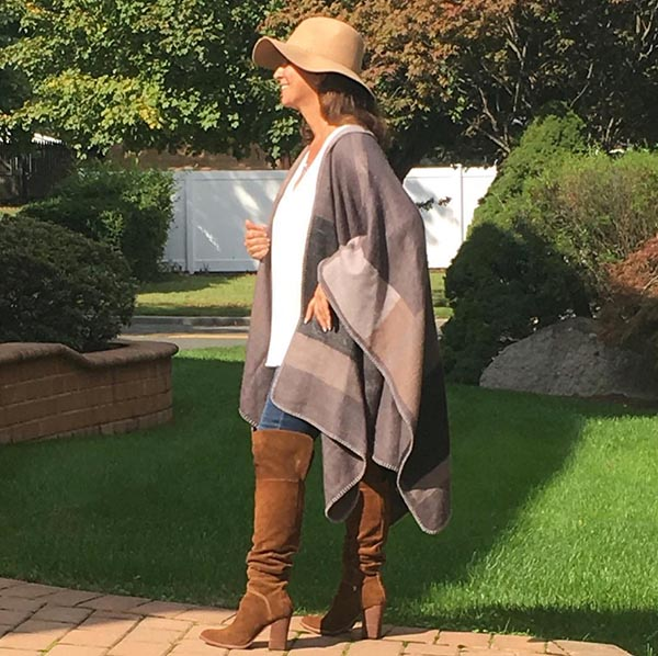 40plusstyle inspiration: knee high boots and a poncho for autumn season | 40pplusstyle.com