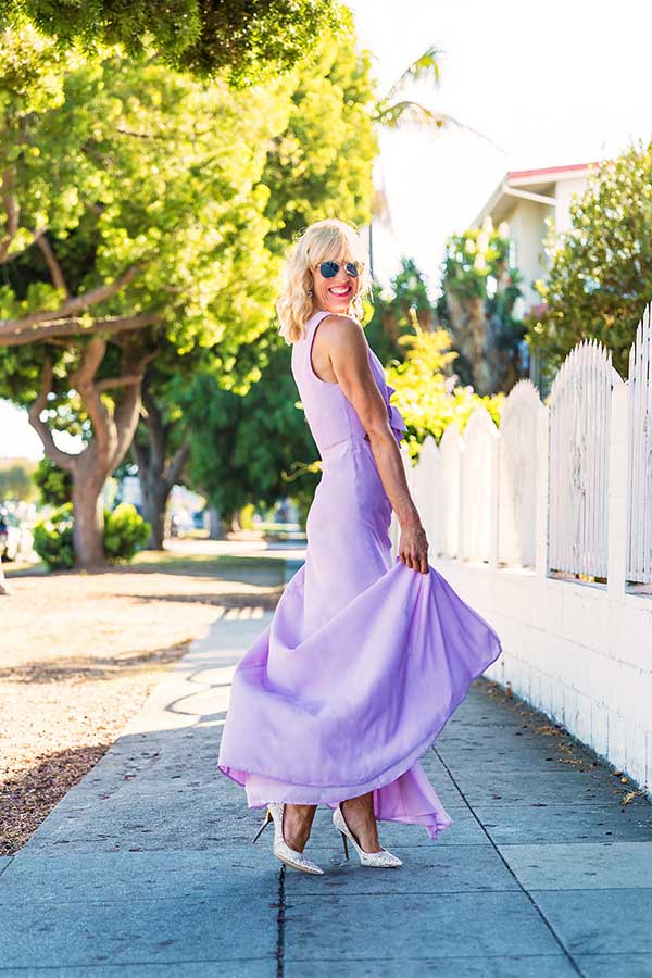 Chic style: Feminine periwinkle dress with white heels | 40plusstyle.com