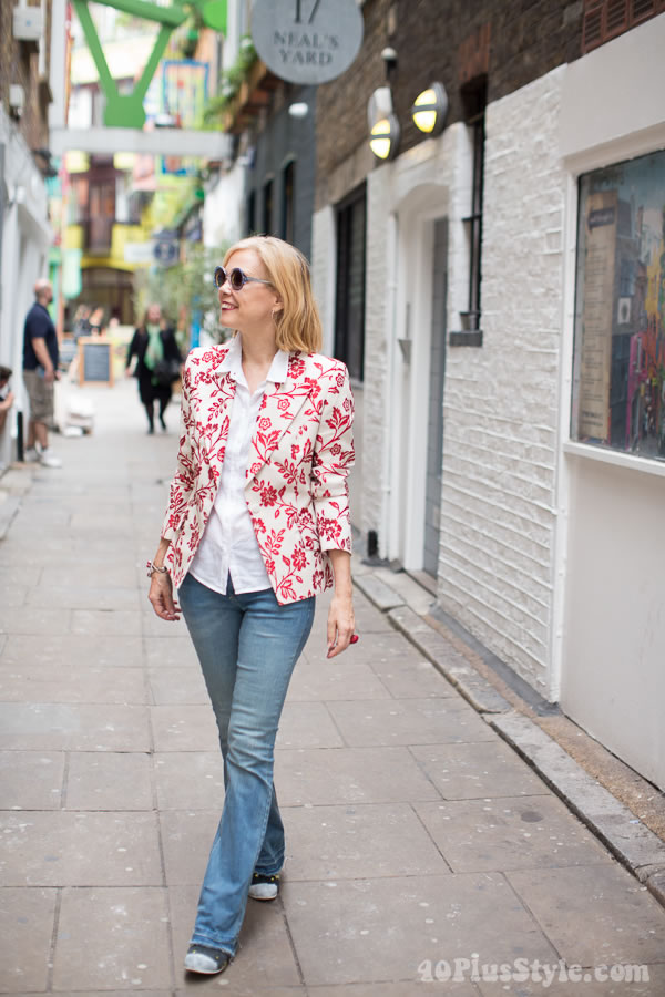 Flower jacket and jeans   40plusstyle.com