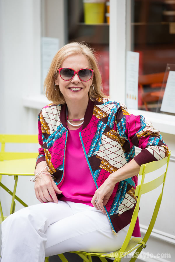 Mod and chic outfit for women: Fun and vibrant outfit inspiration with Amin Anthony Philips jacket | 40plusstyle.com