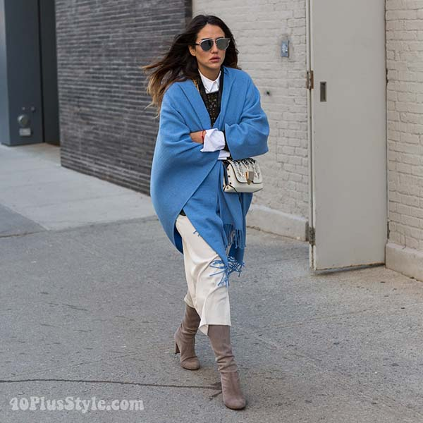 Winter outfits: blue poncho | 40plusstyle.com