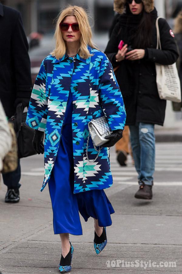 Aztec coat outfit idea | 40plusstyle.com