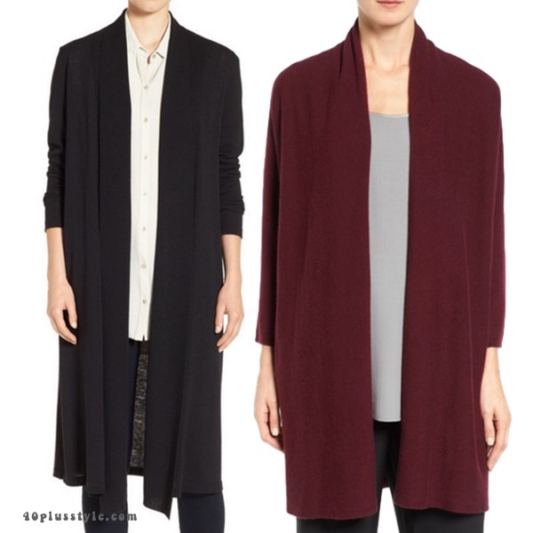Eileen Fisher duster coats to expand your capsule wardrobe stylishly. 40plusstyle.com