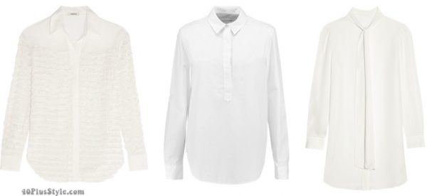 White button-down blouse | 40plusstyle.com